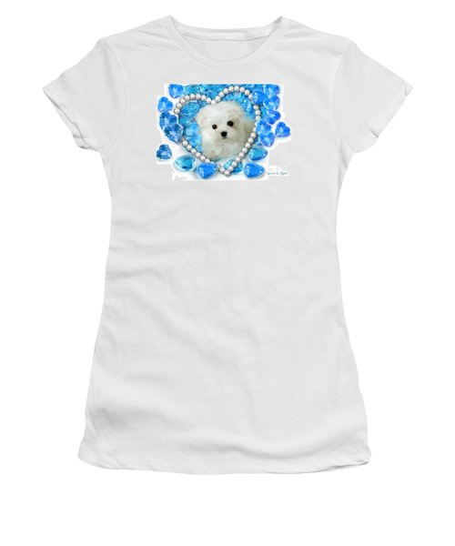 Hermes The Maltese And Blue Hearts Women's T-Shirt (Athletic Fit)