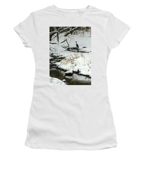 Heron In Winter Women's T-Shirt