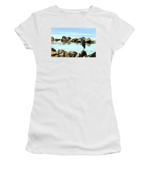 Heron On The Rocks Women's T-Shirt (Athletic Fit)