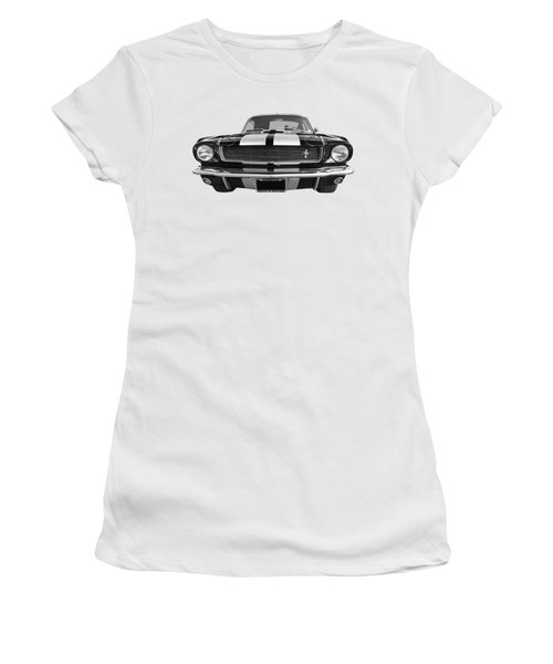 Women's T-Shirt (Junior Cut) featuring the photograph Hertz Rent A Racer Mustang 1966 Black And White by Gill Billington