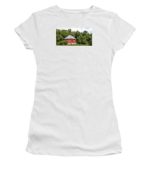Women's T-Shirt (Junior Cut) featuring the photograph Hexagon Barn by Dan Traun