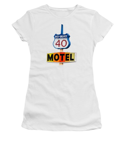 Hi-way 40 Motel Women's T-Shirt (Junior Cut) by Rick Mosher