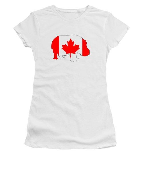 Hippopotamus Canada Women's T-Shirt (Junior Cut) by Mordax Furittus