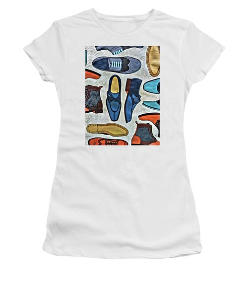 Women's T-Shirt featuring the painting His Shoes by Marian Palucci-Lonzetta