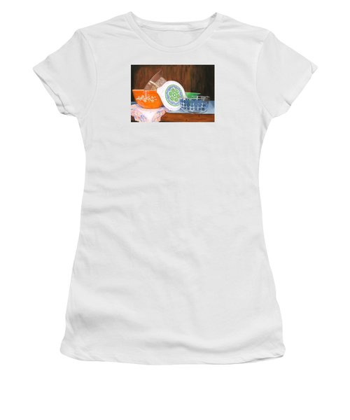 Women's T-Shirt (Athletic Fit) featuring the painting History Of Pyrex by Lynne Reichhart