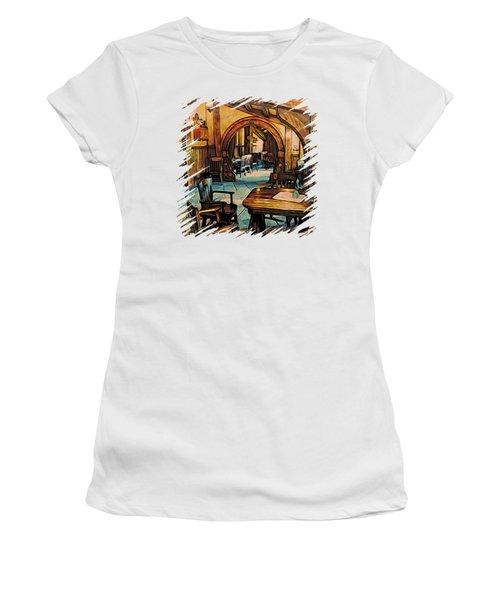 Women's T-Shirt (Junior Cut) featuring the digital art Hobbit Writing Nook T-shirt by Kathy Kelly
