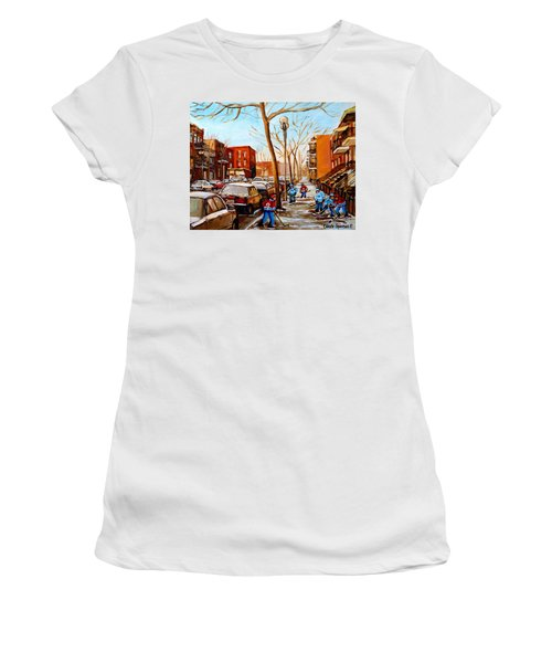 Women's T-Shirt (Junior Cut) featuring the painting Hockey On St Urbain Street by Carole Spandau