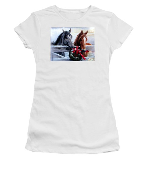 Women's T-Shirt (Junior Cut) featuring the photograph Holiday Barnyard by Judyann Matthews