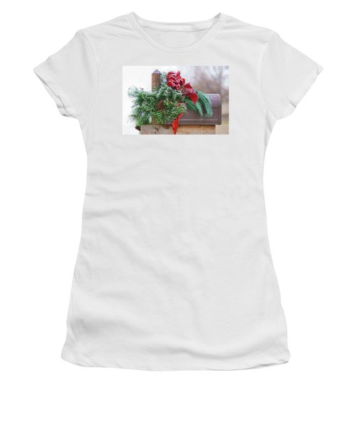 Women's T-Shirt (Junior Cut) featuring the photograph Holiday Mail by Nikolyn McDonald