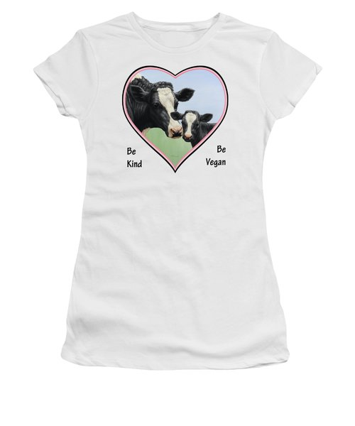 Holstein Cow And Calf Pink Heart Vegan Women's T-Shirt (Athletic Fit)