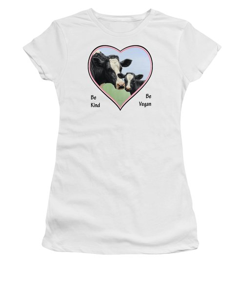 Holstein Cow And Calf Pink Heart Vegan Women's T-Shirt