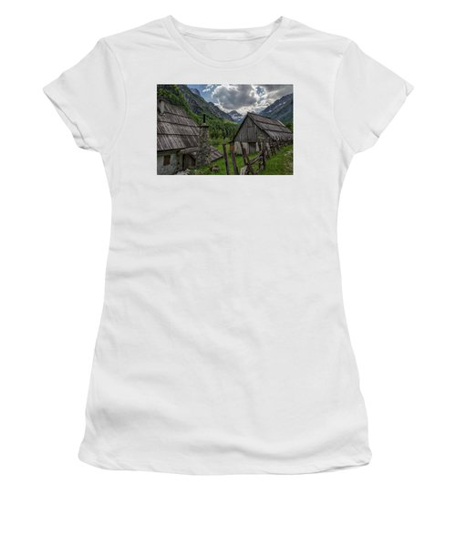 Women's T-Shirt (Athletic Fit) featuring the photograph Home In The Slovenian Alps #2 by Stuart Litoff
