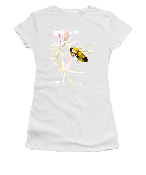 Honey Bee And Pink Flower Women's T-Shirt (Junior Cut) by Suren Nersisyan