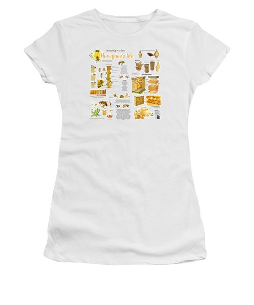 Women's T-Shirt (Junior Cut) featuring the drawing Honey Bees Infographic by Gina Dsgn