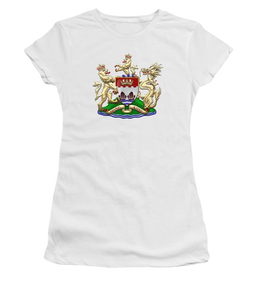 Hong Kong - 1959-1997 Coat Of Arms Over White Leather  Women's T-Shirt (Junior Cut) by Serge Averbukh