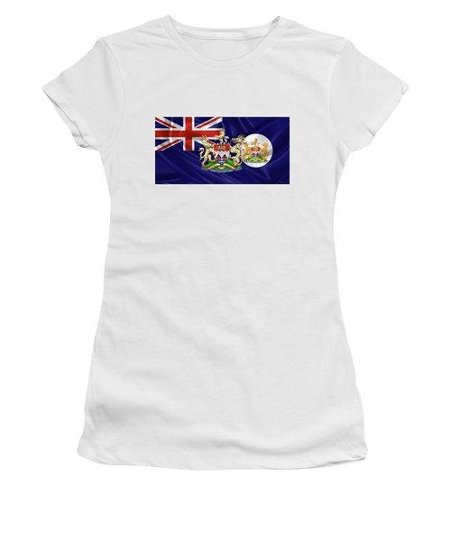 Hong Kong - 1959-1997 Historical Coat Of Arms Over British Hong Kong Flag  Women's T-Shirt (Junior Cut) by Serge Averbukh