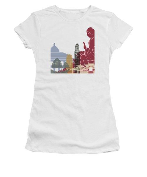 Hong Kong Skyline Poster Women's T-Shirt (Athletic Fit)