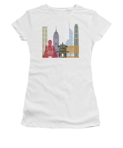 Hong Kong Skyline Poster_v2 Women's T-Shirt (Athletic Fit)