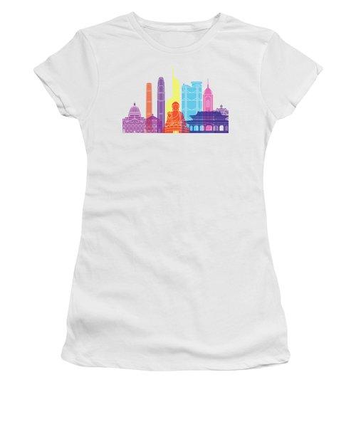Hong Kong V2 Skyline Pop Women's T-Shirt (Athletic Fit)