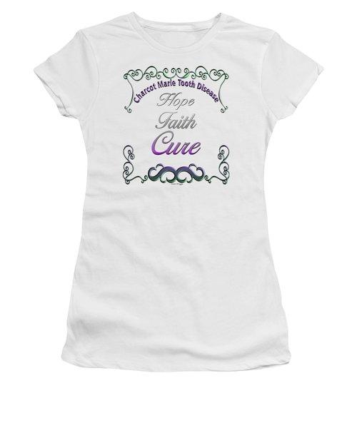 Hope Faith Cure For Cmt Women's T-Shirt (Junior Cut) by Susan Kinney