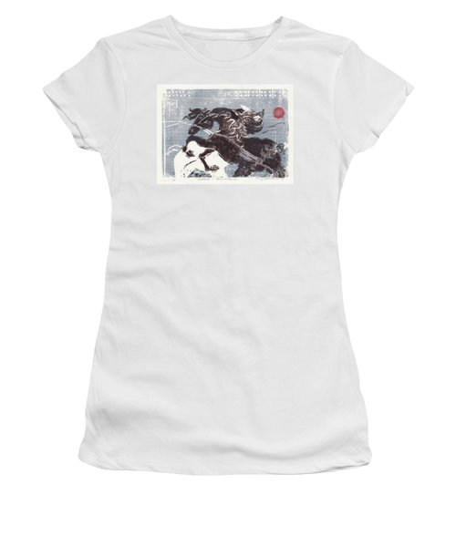 Horse And Red Sun Women's T-Shirt (Athletic Fit)