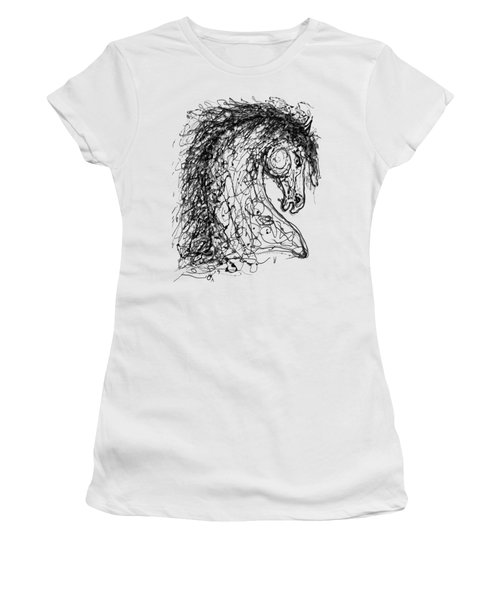 Horse  Dripped Abstract Pollock Style On #fineartamerica Women's T-Shirt