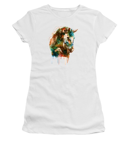 Horse Head Watercolor Women's T-Shirt (Athletic Fit)