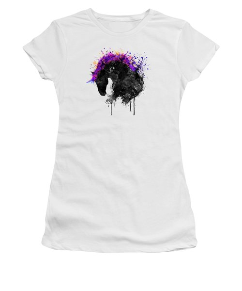 Horse Head Watercolor Silhouette Women's T-Shirt (Athletic Fit)