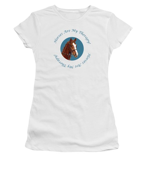 Horses Are My Therapy Women's T-Shirt (Athletic Fit)