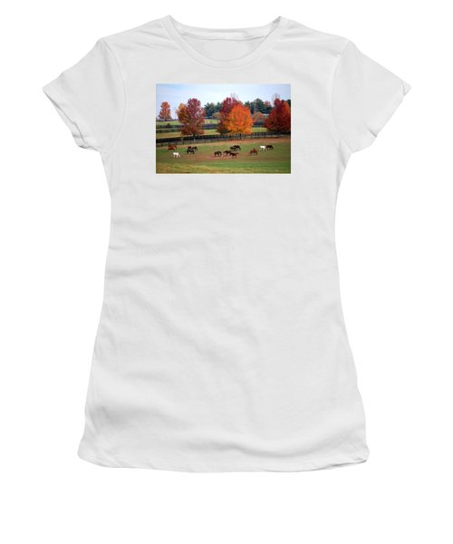 Horses Grazing In The Fall Women's T-Shirt (Junior Cut) by Sumoflam Photography