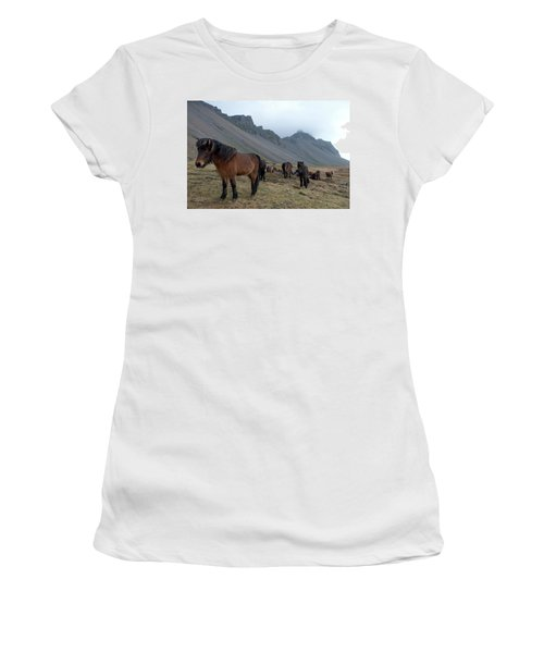Women's T-Shirt (Athletic Fit) featuring the photograph Horses Near Vestrahorn Mountain, Iceland by Dubi Roman