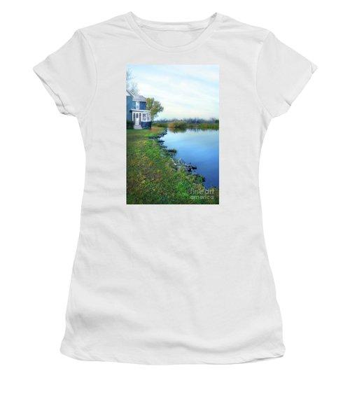 Women's T-Shirt (Junior Cut) featuring the photograph House On A Lake by Jill Battaglia