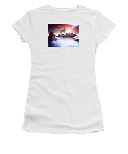 Howling Wolf Lomo Women's T-Shirt (Junior Cut) by Jacqueline Lloyd