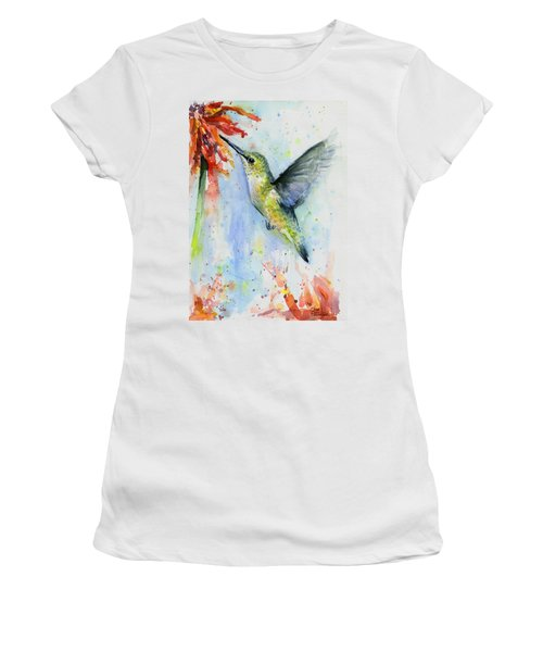 Hummingbird And Red Flower Watercolor Women's T-Shirt
