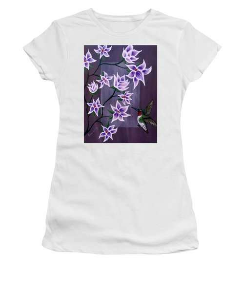 Hummingbird Delight Women's T-Shirt (Junior Cut) by Teresa Wing