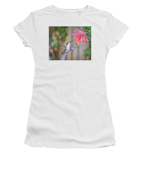 Hummingbird Happiness 2 Women's T-Shirt (Junior Cut) by Kerri Farley