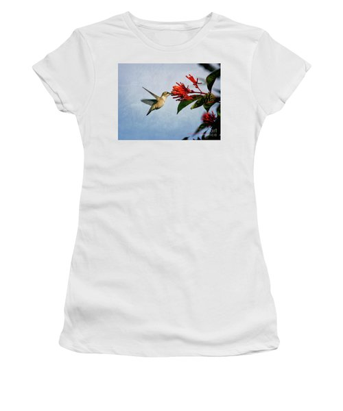 Hummingbird Red Flowers Women's T-Shirt (Athletic Fit)