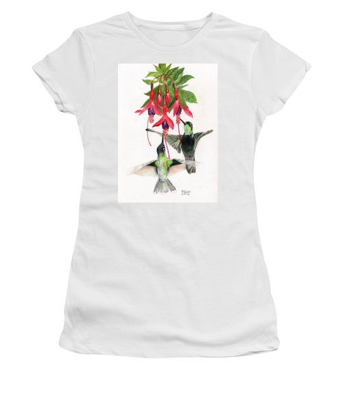Hummingbirds And Fuchsia Women's T-Shirt (Athletic Fit)