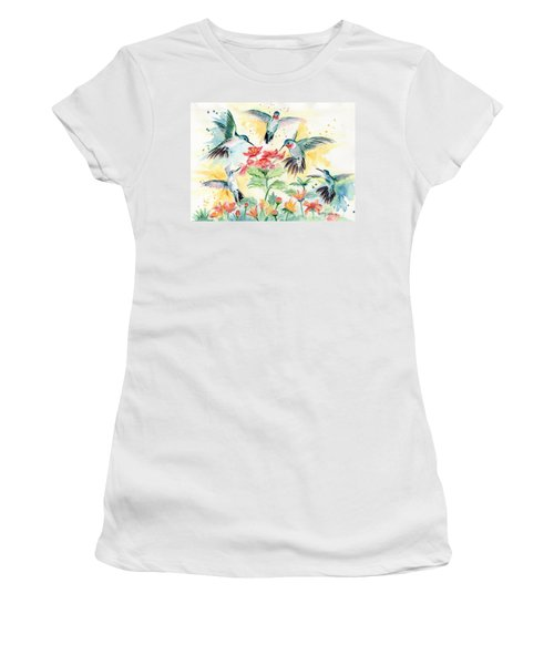 Hummingbirds Party Women's T-Shirt (Junior Cut) by Melly Terpening