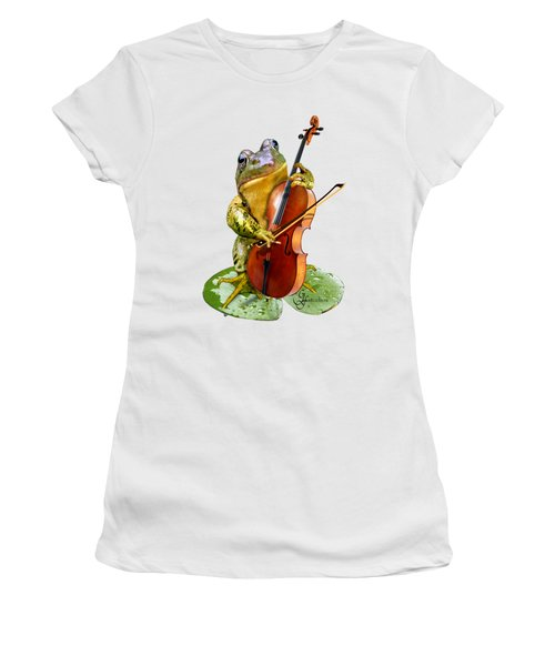 Humorous Scene Frog Playing Cello In Lily Pond Women's T-Shirt