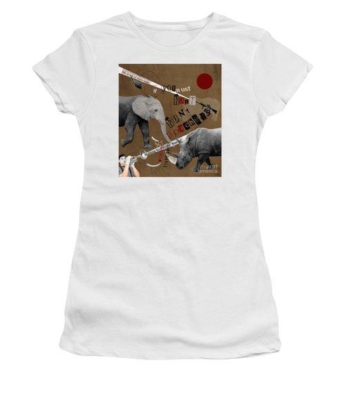 Women's T-Shirt (Junior Cut) featuring the digital art Hunt Wildlife Poachers by Nola Lee Kelsey