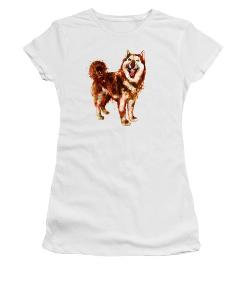 Husky Dog Watercolor Women's T-Shirt (Athletic Fit)