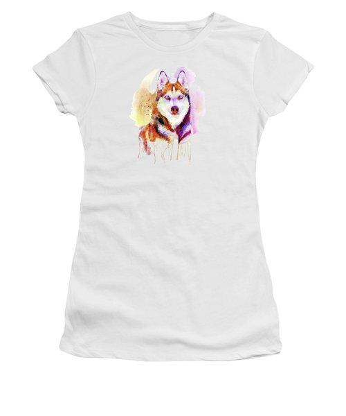 Husky Dog Watercolor Portrait Women's T-Shirt (Athletic Fit)