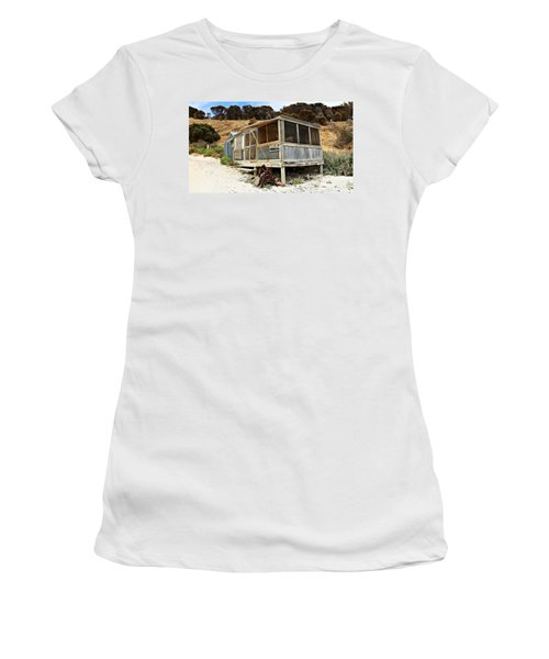 Hut At Western River Cove Women's T-Shirt (Junior Cut) by Stephen Mitchell