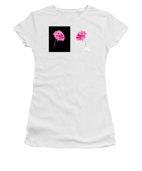 Hydrangeas On Black And White Women's T-Shirt