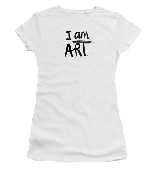 Women's T-Shirt (Junior Cut) featuring the mixed media I Am Art Black Ink - Art By Linda Woods by Linda Woods