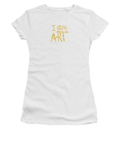 I Am Art Gold - Art By Linda Woods Women's T-Shirt (Junior Cut) by Linda Woods