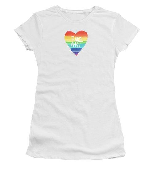 I Am Art Rainbow Heart- Art By Linda Woods Women's T-Shirt (Athletic Fit)