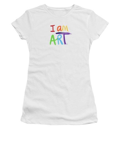 I Am Art Rainbow Script- Art By Linda Woods Women's T-Shirt (Athletic Fit)
