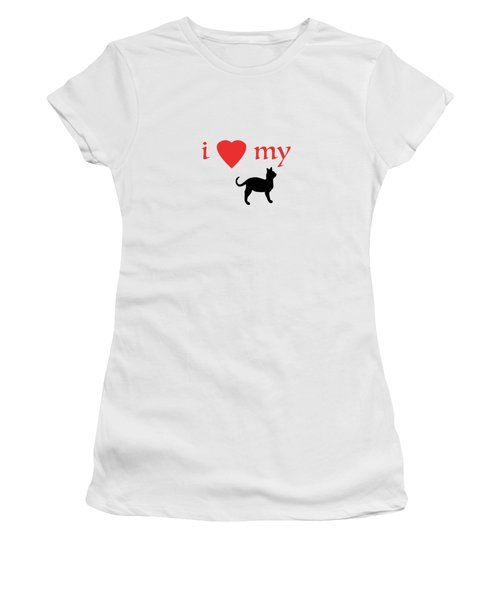 I Heart My Cat Women's T-Shirt (Junior Cut) by Bill Owen